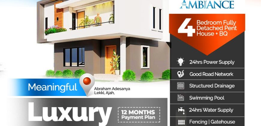Beautiful 4 Bedroom Terrace with Bq at The Ambiance Estate Abraham Adesanya